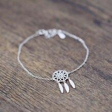 DreamySky 2018 prawdziwa czysta frędzel z liściem kolor srebrny bransoletki dla kobiet pulsera de plata Drop Shipping