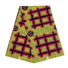 cotton fabric African wax veritable dutch Printed in fabric block wax ankara 6yards grid hot sale for african woman V-L 553 цена
