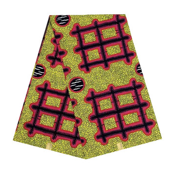 cotton fabric African wax veritable dutch Printed in fabric block wax ankara 6yards grid hot sale for african woman V-L 553