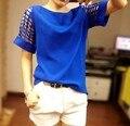 Más el Tamaño XXXL Verano de Las Mujeres Camisetas Blusa 2015 Nueva Moda Sólido de Manga Corta de Gasa T Shirt Ocasionales Adelgazan Tops Tee