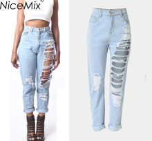 NiceMix 2017 Plus Size Ripped Jeans Casual Boyfriend For Women High Wasit Washed Vintage Woman Denim Femme