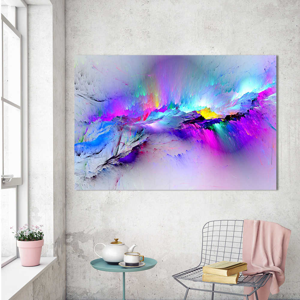 HDARTISAN Oil Painting Wall Pictures For Living Room Home Decor Abstract Clouds Colorful Canvas Art Home Decor No Frame