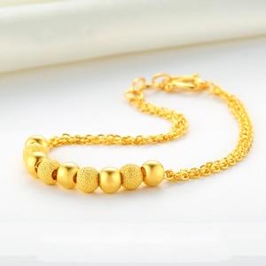 Image 2 - XXX BBB 24k Gold Bracelet Pure Yellow Genuine AU999 Bangle Fine Wedding Engagement fine Jewelry Women Beads Chain New  Hot Sale