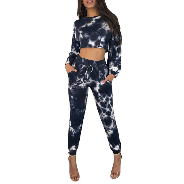 a76479f0f8e Autumn Winter Two Piece Set Sweat Suits Women Tracksuit Long Sleeve Tie Dye  Crop Top Sweatshirt and Long Pants Set Jogging Suits