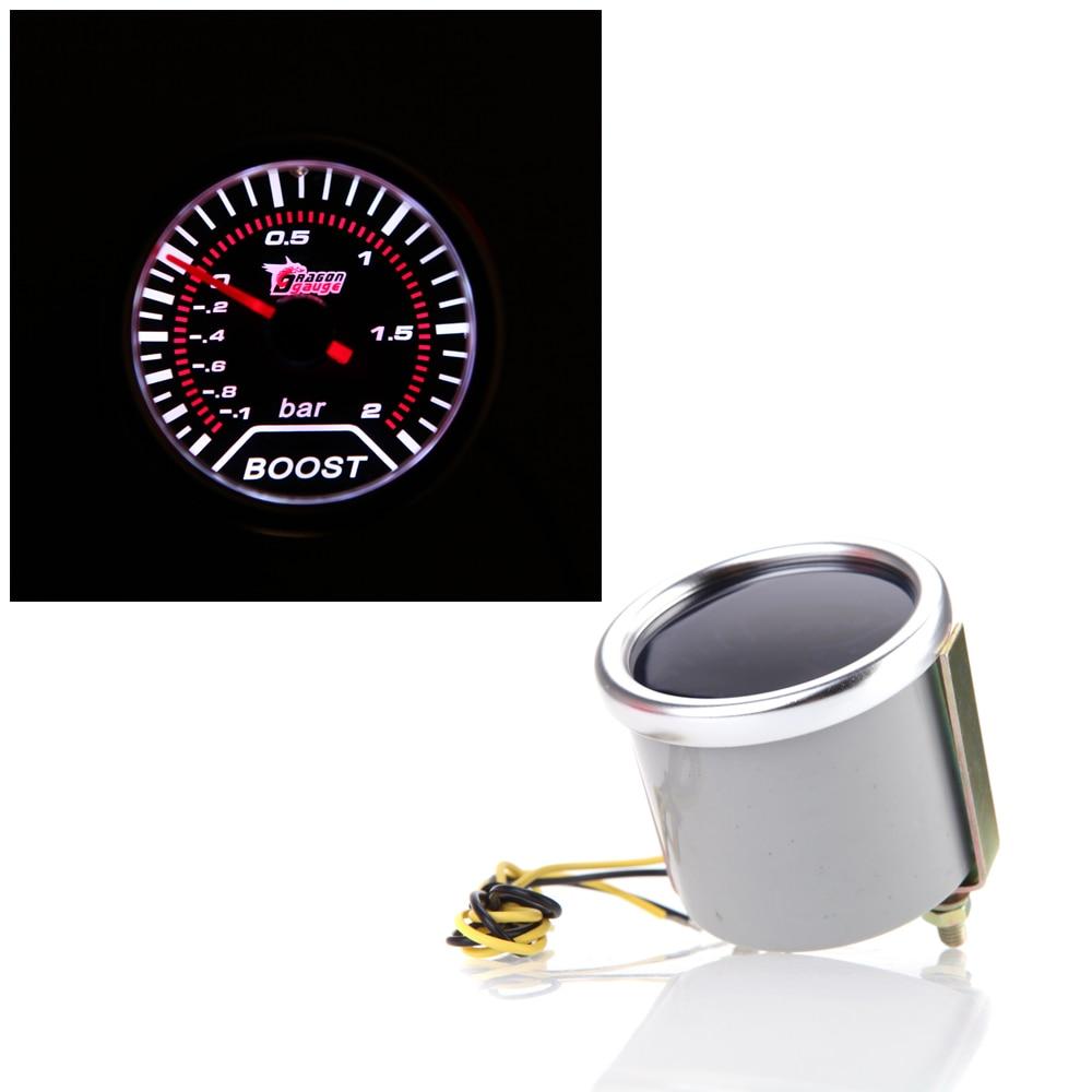 "2"" 52mm Motor Car Bar Boost Gauge Universal Smoke Lens Indicator White Meter Elegant And Graceful"