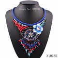 2017 fashionable new design necklaces blue chain bead flower crystal statement necklace big chunky necklace for women jewelry