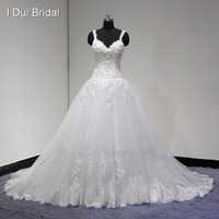 2017 New Double Strap Wedding Dress Silver Lined Lace Pearl Beaded High Quality Factory Custom Made