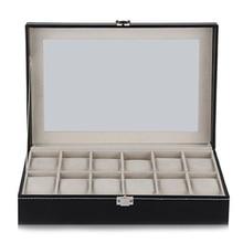12 Grid Watch Display Case դաստակ ժամացույցի պահեստատուփի զարդերի պահեստավորման կազմակերպիչ