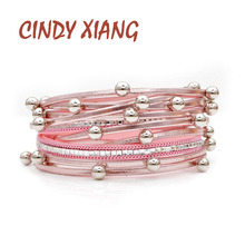 CINDY XIANG Small Alloy Ball Long Twisted Leather Bracelets For Women Pin Color Rhinestone Cuff Bangles Fasion Jewelry Summer