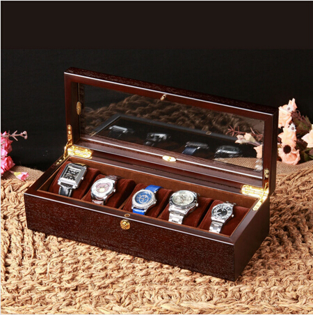 131ee75b1c0 luxury original oak wood 5 grid watch box wooden watch case gift boxwatch  organizer watch box wood watch display MSBH004b-in Storage Boxes   Bins  from Home ...
