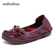Women Flats Summer Autumn Flower Flat Shoes Vintage Genuine Leather Women Flats Slip On Loafers Moccasins Casual Ladies Shoes цены онлайн