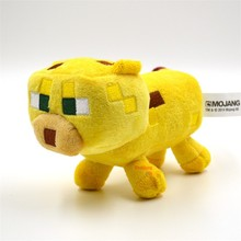Big size High Quality Minecraft Stuffed Plush Toys Minecraft Ocelot Animal Plush Toys yellow 24CM for