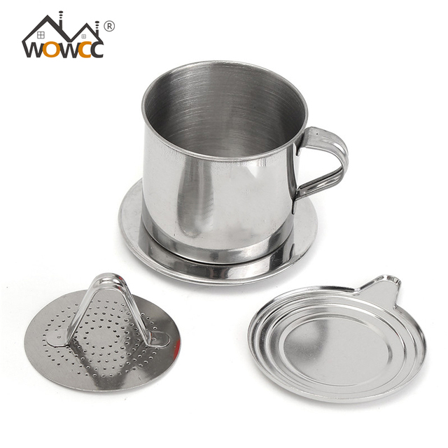 Wowcc 1set Portable Stainless Steel Coffee Drip Filter Maker Infuser Vietnam Style Mug Cup