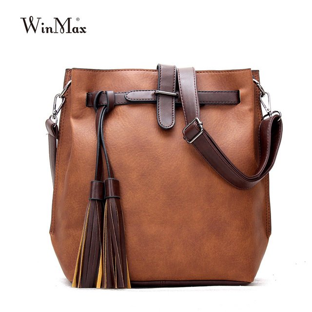 Factory Outlet Winmax Vintage Women Handbags PU Leather Shoulder Bags  tassel bucket Totes Belt Large Capacity 604be3fa05428
