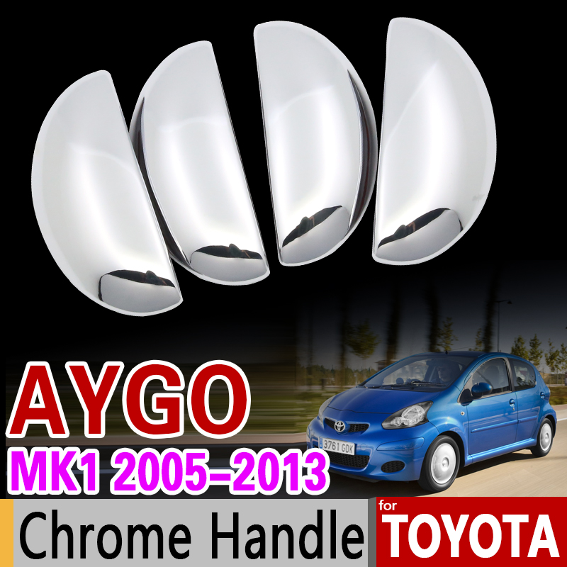 for Toyota Aygo MK1 2005-2013 Luxurious Chrome Handle Cover Trim Set 2007 2008 2009 2012 Car Accessories Stickers Car Styling for toyota isis platana 2004 2015 chrome handle cover trim set 2005 2006 2007 2008 2010 2012 2013 2014 accessories car styling