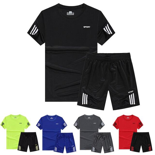 Neue Herren Sport Laufschuhe Sets Fussball Training Trainingsanzuge Jersey Sommer Fitness Sportswear Gym Sport Sets Fussball Trikots