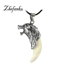 Charming Jewelry Evil Spirits Wolf Heads Shaped Pendant Necklace With Alloy Clavicle Chain NL 0795