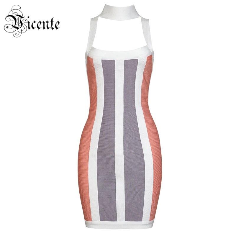 Chaude Bandage Mode Celebrity En Du Rayé Vicente De 2019 Couleur Élégante Robe Nouvelle Manches Multi Ras Cou Femmes Gros Sans Party j5LA43R
