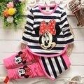 2015 nuevo bebé que arropan sistemas moda primavera / otoño 2 unids juego de la raya de dibujos animados Baby Girls ropa linda establece Shirt + Pants