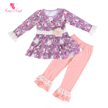 Kaiya Angel 2018 New Design Baby Girls Long Sleeve Autumn Outfits Flower Print Dress Tops Solid Pants Boutique Kids Clothing Set
