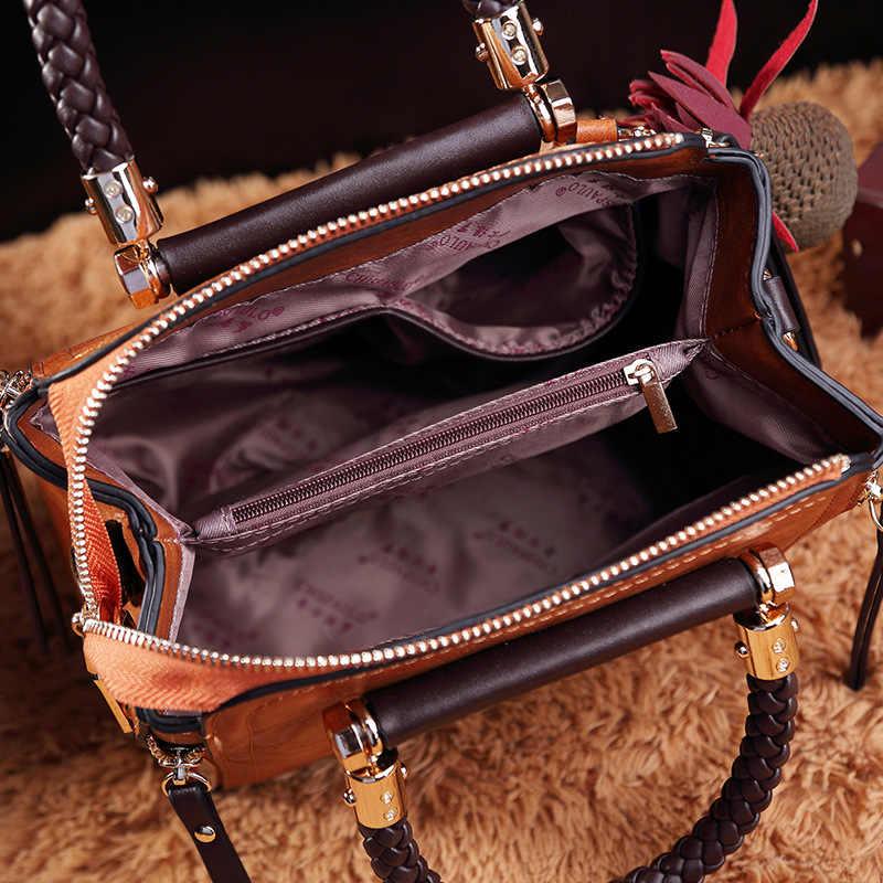 Bolsas de Couro Genuíno do vintage Bolsas De Luxo Mulheres Sacos de Designer de Marca Famosa Bolsa de Ombro Retro cera de Petróleo Mensageiro Saco Novo T38