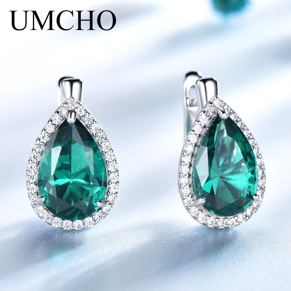 UMCHO Green Emerald Gemstone Clip Earrings 925 Sterling Silver Earrings For Women New Fashion Oval Birthstone Fine Jewelry Gift