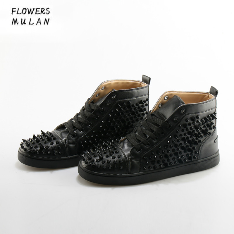 Fashion Lace Up Men Shoes Sapato Masculino Zapatos Hombre High Top Casual Shoes Black Rivets Embellished Flats boots Sneakers hot men s comfortable breathable casual shoe lace up shoes sapato masculino zapatos hombre walking men trainers superstars