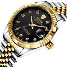 Horloges Mannen Tevise hombres Mecánico Automático Reloj Retro Día Display Reloj de Pulsera Caja de Regalo Envío Gratis
