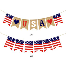 American Independence Day Garland Jute Linen Colorized Usa Burlap Flags Us National Party Flag Diy Decoration M18