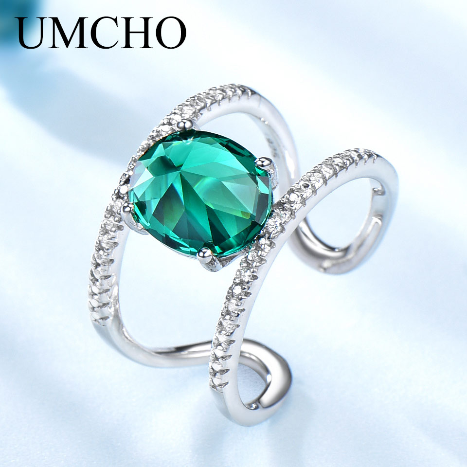 UMCHO Created Emerald Gemstone Ring 925 Sterling Silver Rings For Women Special Rivets Design Fashion Party Jewelry Wholesale