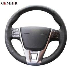 GKMHiR ze sztucznej skóry osłona na kierownicę do samochodu dla Volvo V40 XC60 S60 LV60 S80L specjalne ręcznie szyte pokrowce na kierownice