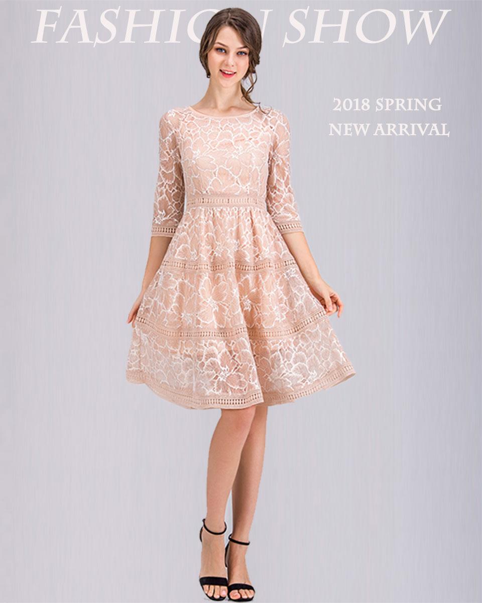 Borisovich nueva 2018 primavera moda damas o-cuello hasta la rodilla ...