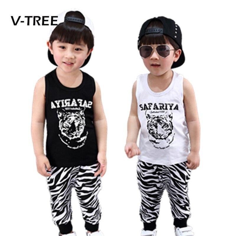 V-tree verano marca baby boys que arropa algodón impresión del gato Camiseta Y P