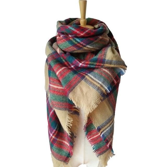 10f79c387 New Winter Scarf Pashmina Unisex Shawl Faux Cashmere Women Scarves Men  Neckerchief Tippet Light Brown Plaid Scarf