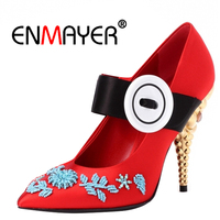 ENMAYER High Heels Shoes Pointed Toe Party Pumps Shoes Woman Embroider Big Size34 43 Mary Jane Office Ladies Shoe Pumps Red CR42