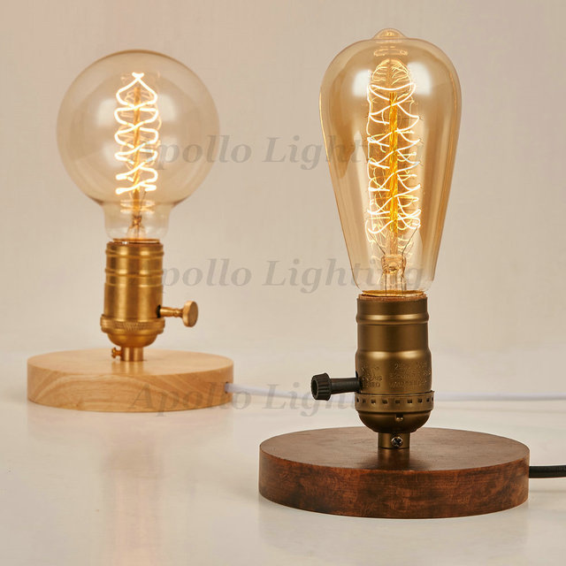 Wood Base E26E27 Edison Bulb Vintage Table Lamp Aluminum Holder