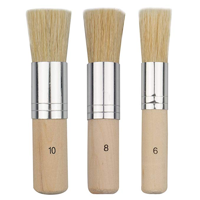 3 Pcs Wooden Stencil Brush Natural Bristle Brushes For Acrylic Painting, Oil Painting, Watercolor Painting