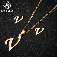 Oly2u Fashion Necklace Jewelry Set For Women Stainless Steel Pendant Necklaces Letter Gold Stud Earrings Bridal Jewellery Sets(China)