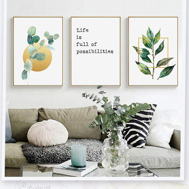 Love Your Life Positive Hourse Green Tropical Plants In The Nature Artwork Aesthetic Wall Canvas Picture