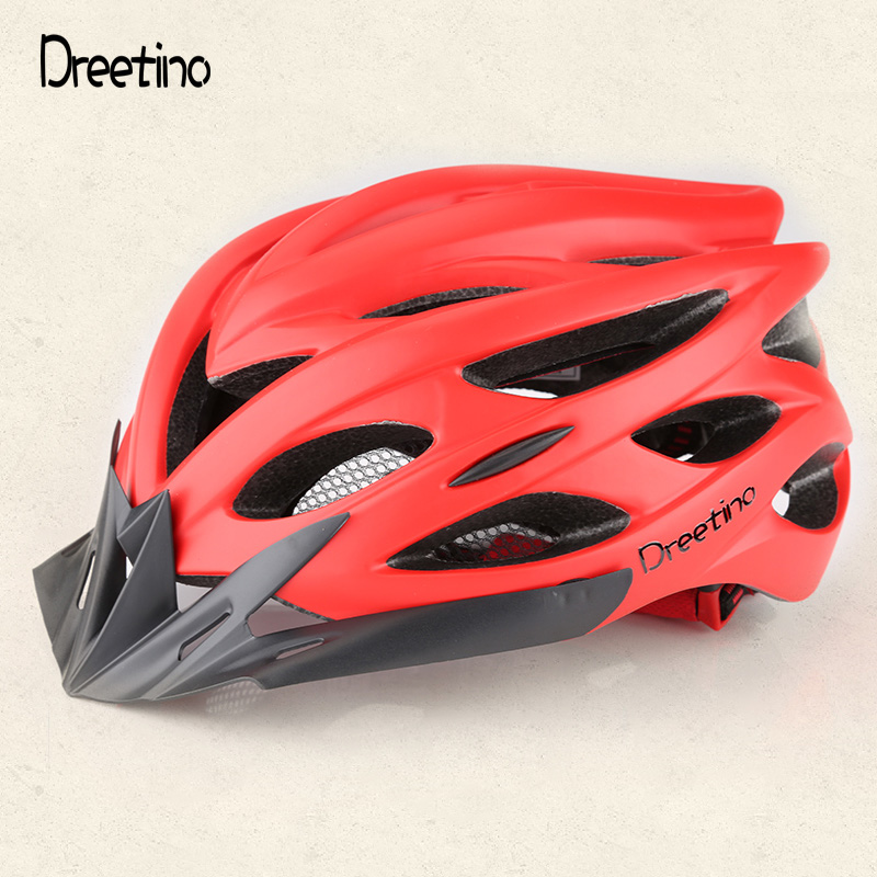 Dreetino Cycling Helmets Matte Men Bicycle Helmet with Warning Light Mountain Road Bike Integrally Molded Casco Ciclismo mtb bicycle helmet safety adult mountain road bike helmets casco ciclismo man women cycling helmet 1x helmet and 1xgoggles