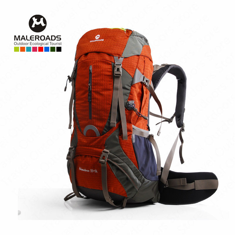 <font><b>Maleroads</b></font> <font><b>60L</b></font> Outdoor Sports Backpack Hiking Camping Water Resistant Nylon Bike Rucksack Bag With Rain Cover image