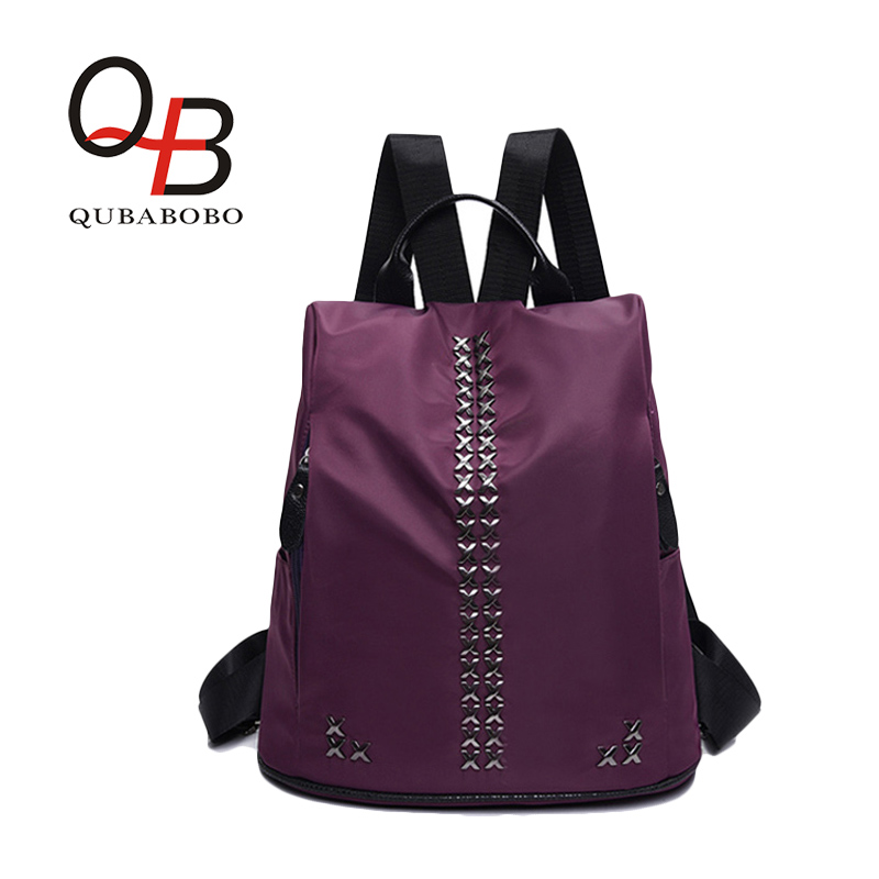ФОТО QUBABOBO Nylon Punk Backpacks For Women / Men Pad Bags  Preppy Style Foldable School Backpack Black Rivet Casual Travel bag Bags