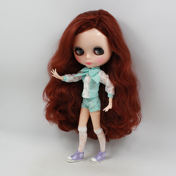 icy factory blyth doll bjd neo 260BL9388 joint body Red wavy hair side parting 1/6 30cm toy gift long side parting shaggy wavy party wig