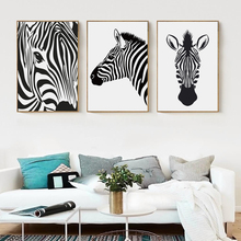 Bianche Wall Simple Abstract Zebra Vlack and White Canvas Painting Art Print Poster Picture Home Bedroom Decor