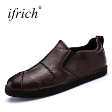 Men's Genuine Leather Shoes Slip on Black Brown Male Cow Leather Shoes Comfortable Man Casual Designer Loafers Cheap