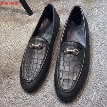 Hanbaidi Mens Loafers Fashion Black Bukle Decor Stone Crack Skin Causal Shoes Street Style Party Dress