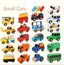 Wooden Multifunctional Magnetic Scene Car Trolley Compatible with tracks Educational Cute Toy Cars Bus Trucks(China)