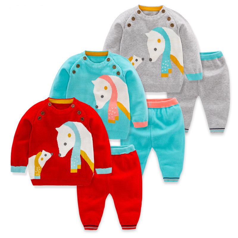 6M To 24M Baby Toddler Girls Polar Bear Knitted Cardigan Sweater with Pants Sets Infant Girls Boys Casual 2 Pieces Sets Clothes toddler baby winter knitted sweater cardigan baby boys girls clothes set long sleeve infant garment baby suit outfit 0 2 years