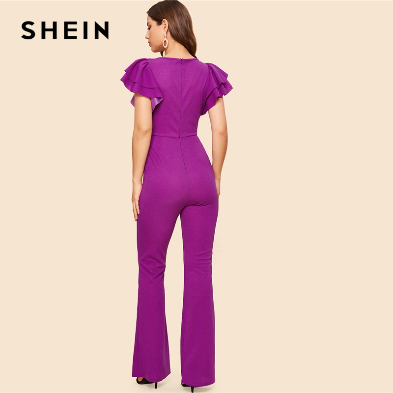 SHEIN Purple Layered Sleeve Belted Flare Leg Plain Jumpsuit 2019 Spring V Neck High Waist Butterfly Sleeve Workwear Jumpsuits 2