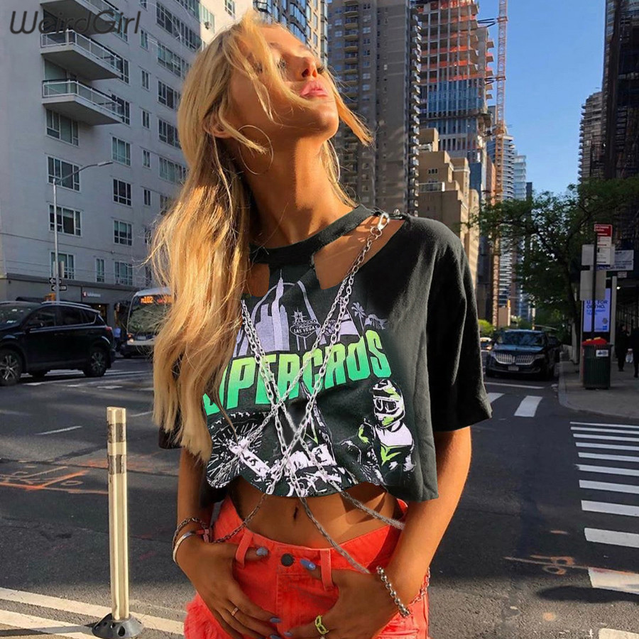 Weirdgirl Women Fashion T-shirts Hip Hop Print Metal Chain Loose O-neck Short Sleeve Crop Tops Elastic Stretched Girl Summer New